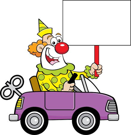 Cartoon illustration of a clown driving a toy car while holding a sign.