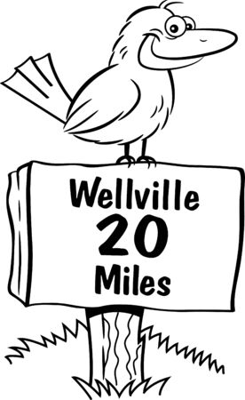 Black and white illustration of a happy bird sitting on a sign.