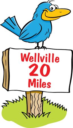 Cartoon illustration of a happy bird sitting on a sign.