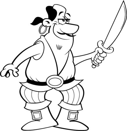 Black and white illustration of a smiling pirate holding a cutlass sword. Ilustração