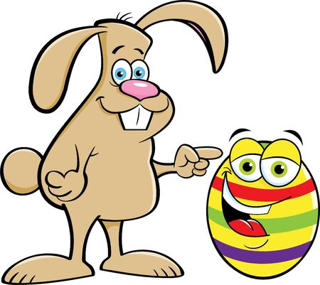 Cartoon illustration of a rabbit pointing to a decorated Easter egg.