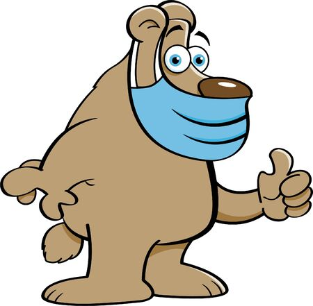 Cartoon illustration of a bear wearing a protective mask and giving thumbs up.