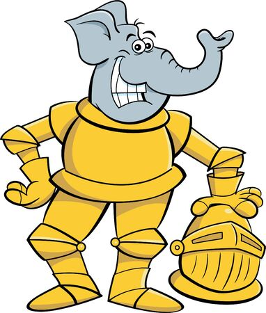 Cartoon illustration of a smiling elephant wearing a suit of armor. Illustration