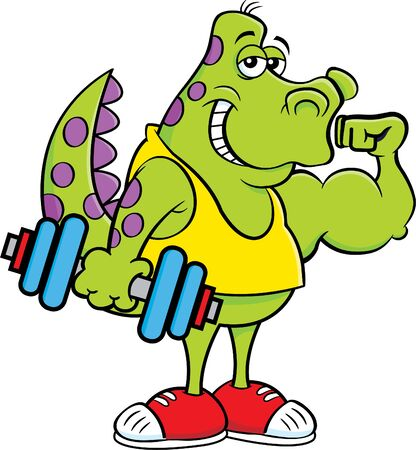 Cartoon illustration of a dinosaur holding a dumbbell and making a muscle. Vectores