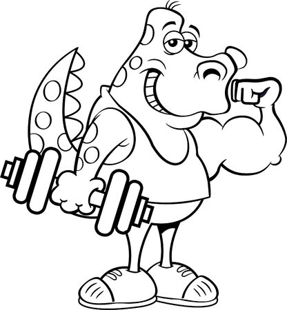 Black and white illustration of a dinosaur holding a dumbbell and making a muscle. Vectores