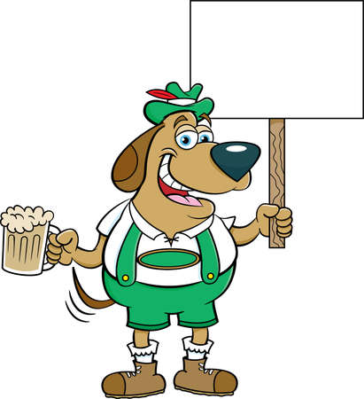 Cartoon illustration of a dog in lederhosen holding a beer and a sign.