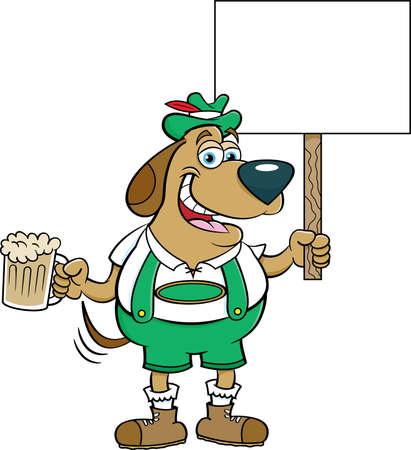 Cartoon illustration of a dog in lederhosen holding a beer and a sign. Stock fotó - 150647629