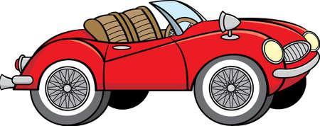 Cartoon illustration of a convertible sports car.