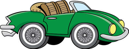 Cartoon illustration of a old sports car with the convertible top down.