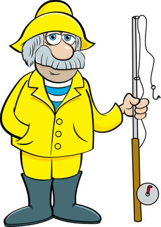 Cartoon illustration of an old sea captain holding a fishing pole.
