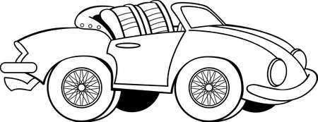 Black and white illustration of a old sports car with the convertible top down.