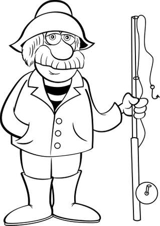 Black and white illustration of an old sea captain holding a fishing pole.