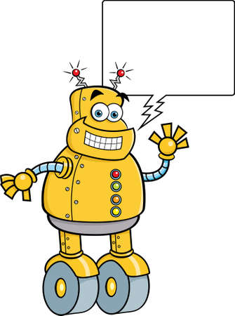 Cartoon illustration of a smiling mechanical robot with a caption balloon.