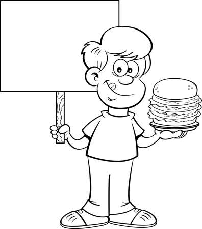 Black and white illustration of a happy boy holding a large hamburger and a sign.