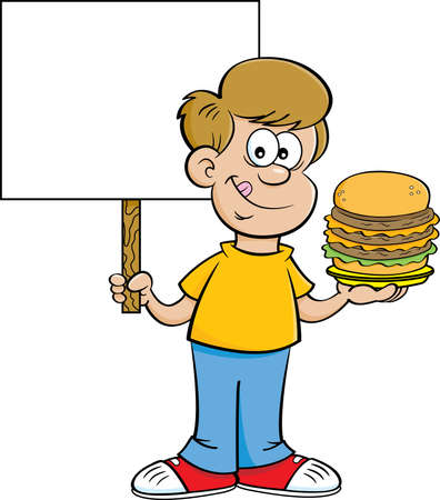 Cartoon illustration of a happy boy holding a large hamburger and a sign.
