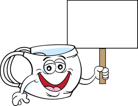 Cartoon illustration of a medical mask smiling and holding a sign. 矢量图像