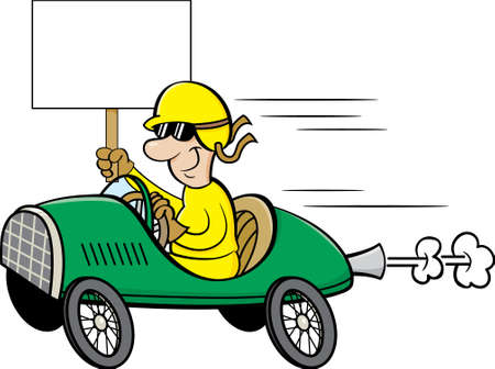 Cartoon illustration of a man wearing a helmet and goggles driving a race car and holding a sign.