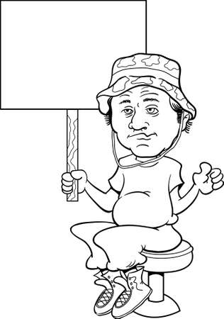 Black and white illustration of a unkept sloppy man sitting on a bar stool and holding a sign.