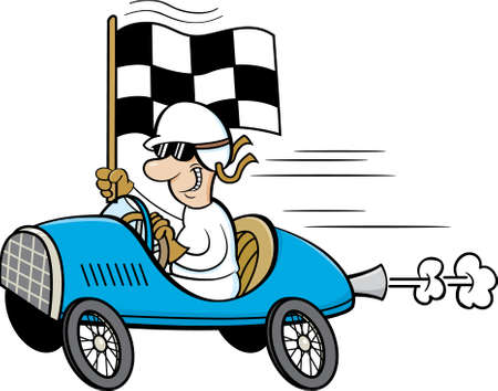 Cartoon illustration of a man wearing a helmet and goggles driving a race car and waving a checkered flag.