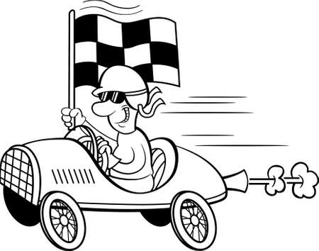 Black and white illustration of a man wearing a helmet and goggles driving a race car and waving a checkered flag.
