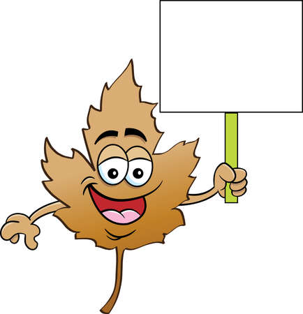 Cartoon illustration of a smiling Fall leaf holding a sign. 矢量图像