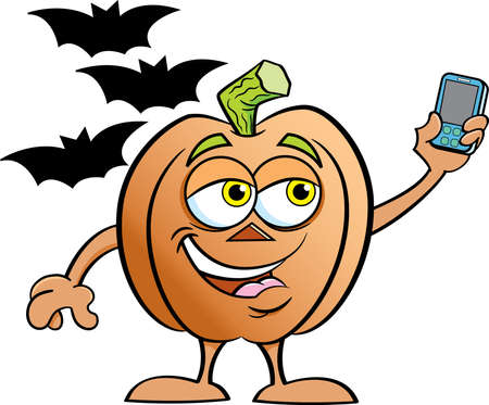 Cartoon illustration of a pumpkin surrounded by bats while taking a selfie.