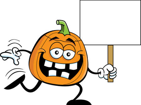 Cartoon illustration of a carved pumpkin running while holding a sign.
