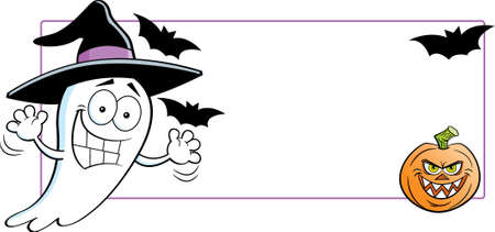 Cartoon illustration of a ghost wearing a witch hat next to a banner with a pumpkin and bats. 矢量图像