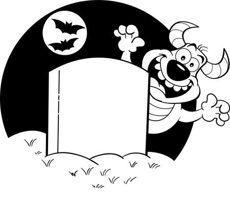 Black and white illustration of a blank gravestone with a monster behind it. 矢量图像