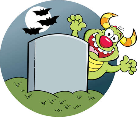 Cartoon illustration of a blank gravestone with a monster behind it.
