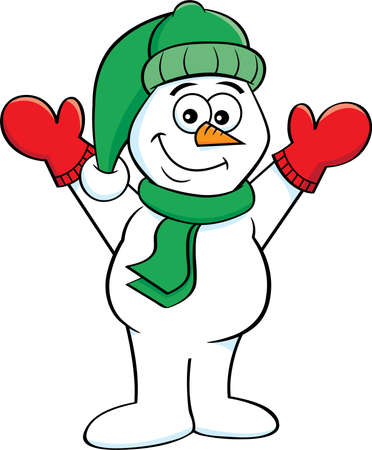 Cartoon illustration of a happy snowman with his arms in the air. 矢量图像
