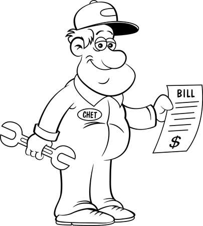 Black and white illustration of an auto mechanic holding a large bill.