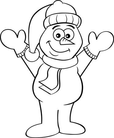 Black and white illustration of a happy snowman with his arms in the air.
