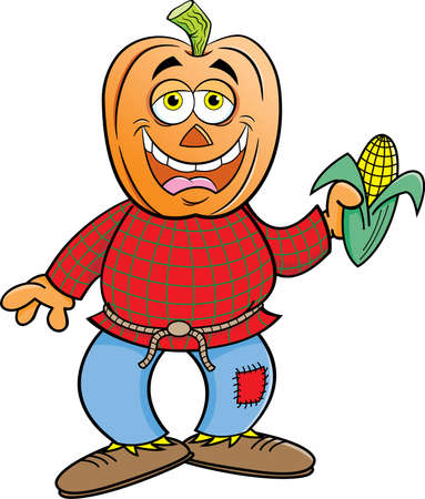 Cartoon illustration of a scarecrow with a pumpkin for a head holding an ear of corn.