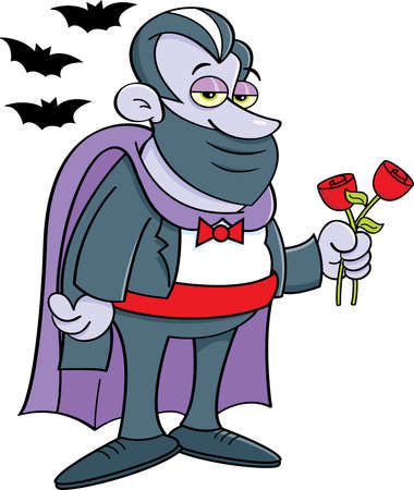 Cartoon illustration of a vampire wearing a mask surrounded by bats.