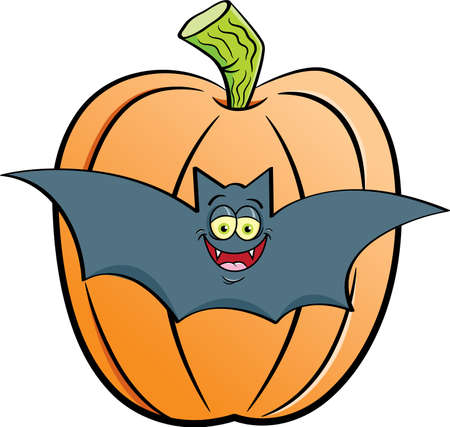 Cartoon illustration of a bat in front of a large pumpkin. 矢量图像