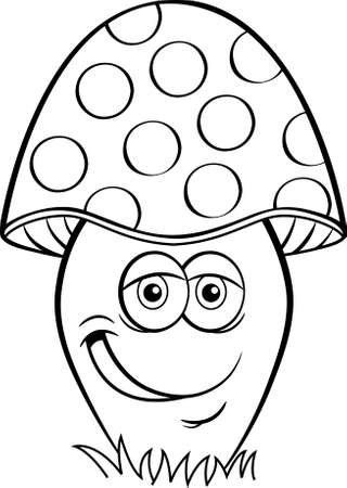 Black and white illustration of a smiling mushroom. Иллюстрация