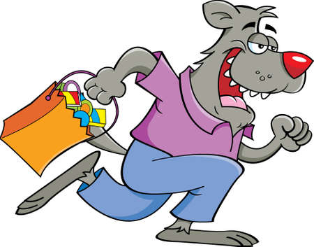 Cartoon illustration of a werewolf running while holding a trick or treat bag. Ilustración de vector
