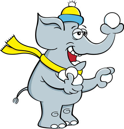 Cartoon illustration of an elephant throwing snowballs with it's trunk.