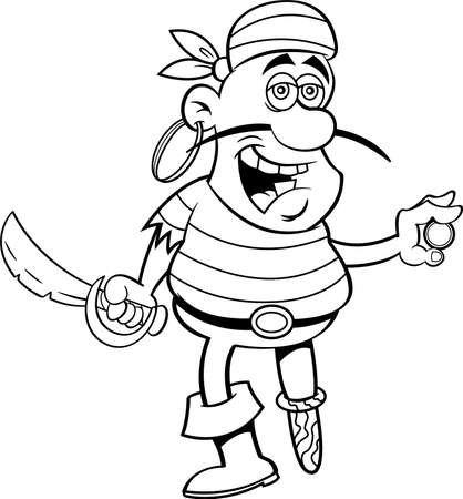 Black and white illustration of a smiling pirate holding a cutlass and a gold coin.