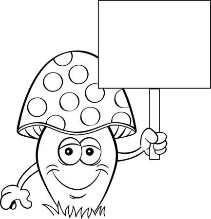 Black and white illustration of a happy mushroom holding a sign.