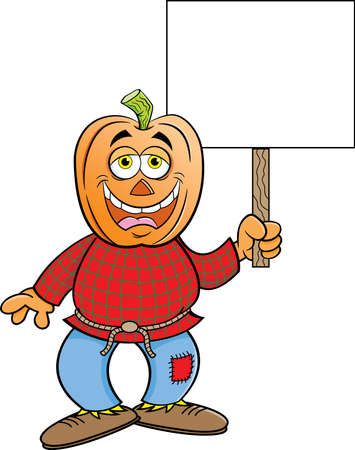 Cartoon illustration of a scarecrow with a pumpkin for a head holding a sign.
