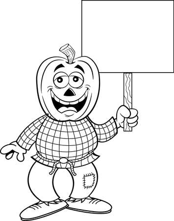 Black and white illustration of a scarecrow with a pumpkin for a head holding a sign.