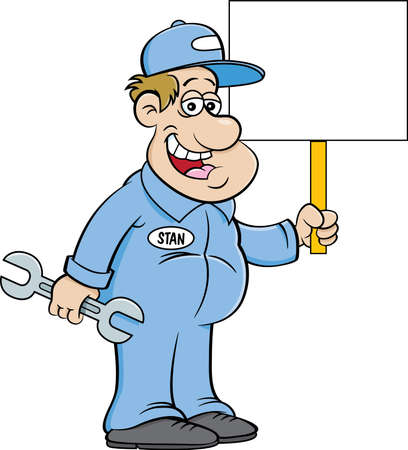 Cartoon illustration of an auto mechanic holding a large wrench and a sign.
