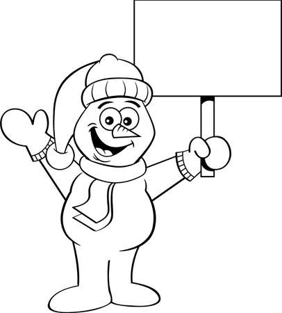 Black and white illustration of a happy snowman waving and holding  sign.  イラスト・ベクター素材