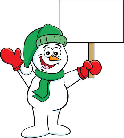 Cartoon illustration of a happy snowman waving and holding  sign.