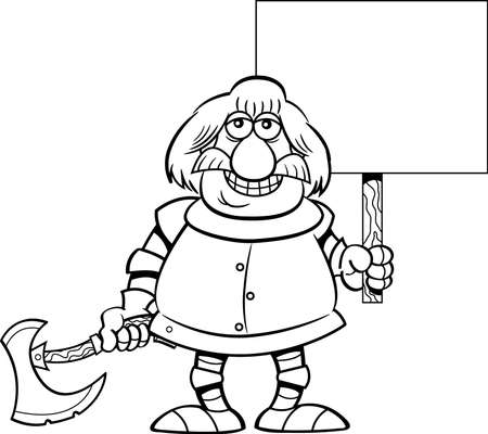 Black and white illustration of a smiling knight holding a sign and a battle axe.