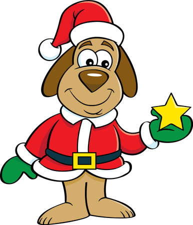 Cartoon illustration of a dog in a Santa Claus costume holding a star.