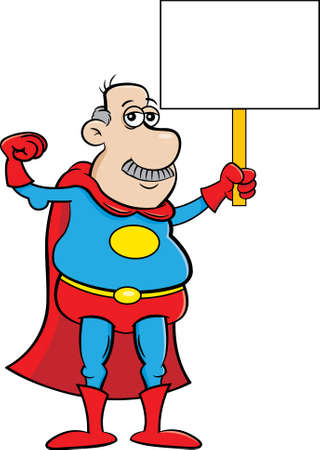 Cartoon illustration of an old man in a super hero costume making a muscle and holding a sign. 矢量图像