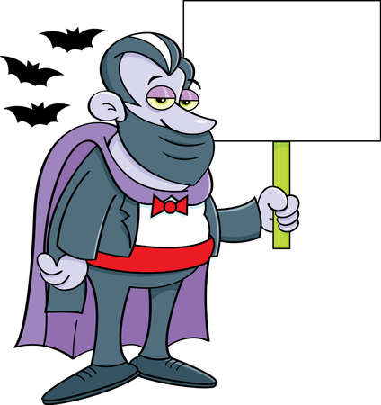 Cartoon illustration of a vampire wearing a mask  while holding a sign and surrounded by bats.